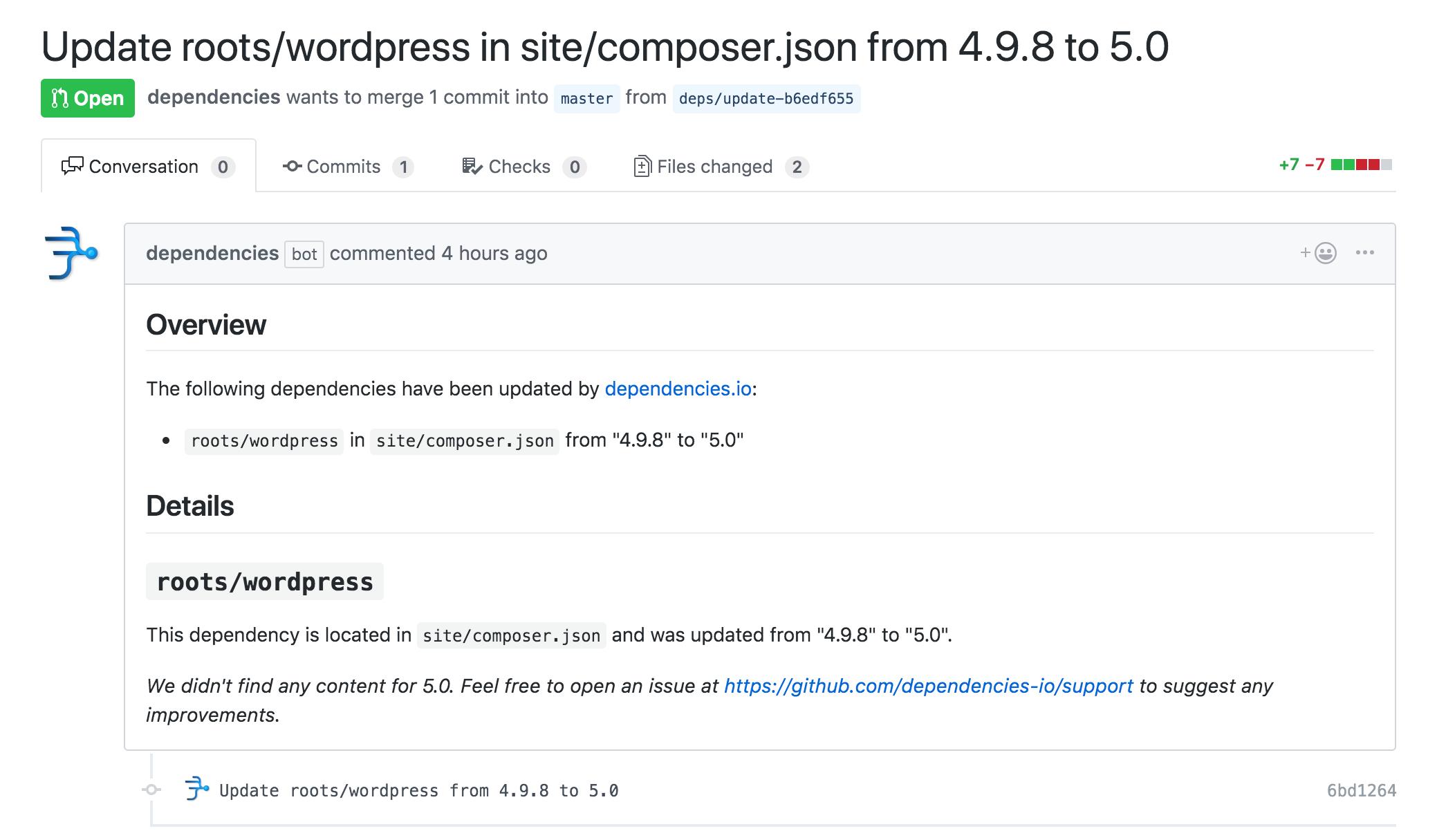 Dependencies.io bot automatically updating WordPress