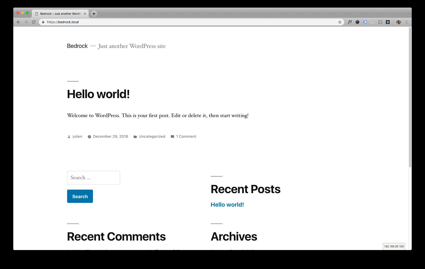 Screenshot of the Bedrock WordPress site in Google Chrome