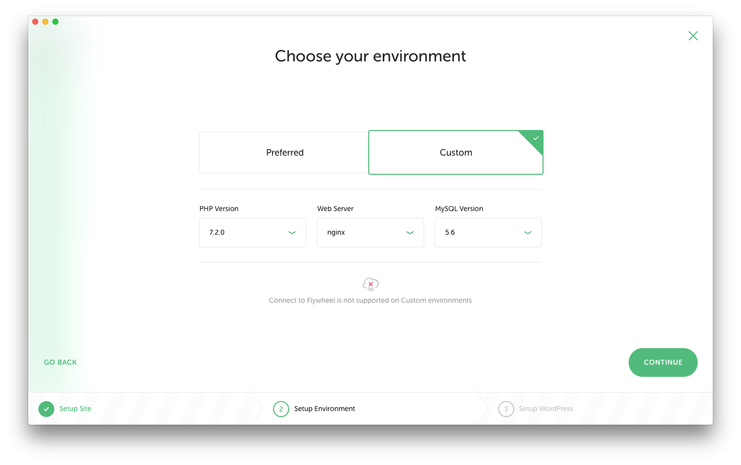 "Screenshot of the ""choose environment"" step on Local by Flywheel"