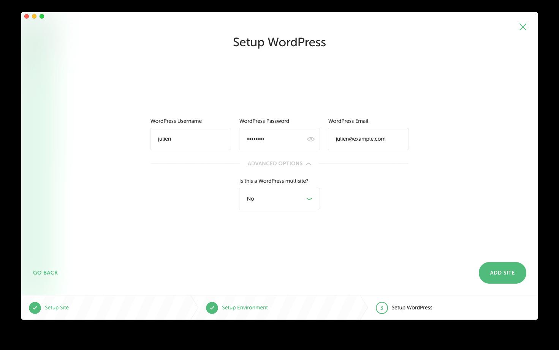 "Screenshot of the ""setup WordPress"" step on Local by Flywheel"