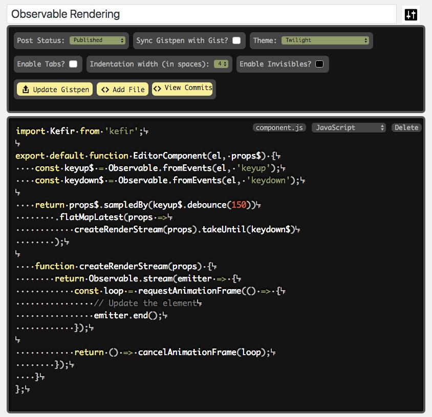 WP-Gistpen Editor Screen