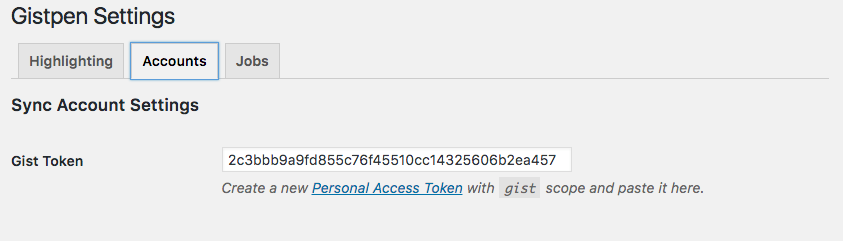 WP-Gistpen Gist Token Screen